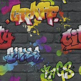 Kids Multi Graffiti Wallpaper Black