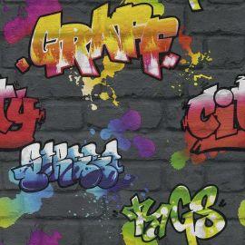 Kids Multi Graffiti Wallpaper