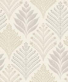 A subtle leaf design with patterns in a diamond shape in a natural colour scheme.