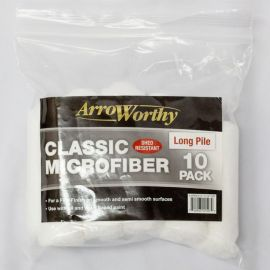 "Arroworthy Classic Microfiber 4"" 9/16"" Mini Rod Style Roller Sleeve Long Pile (Pack of 10)"