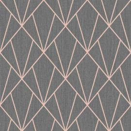 Indra Geometric Wallpaper Charcoal Rose Gold