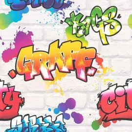 Kids Multi Graffiti Wallpaper White