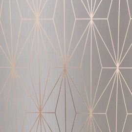 Kayla Metallic Geometric Wallpaper Light Grey & Rose Gold