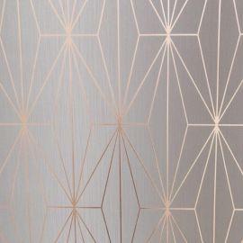 Kayla Metallic Geometric Wallpaper Light Grey & Rose Gold