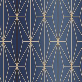 Kayla Metallic Geometric Wallpaper Blue & Bronze