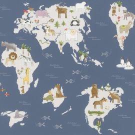 Marvellous Animals Map Wallpaper Navy