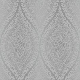 Kismet Moroccan Damask Wallpaper Silver, an intricate mandala-like design in a silver colour repeated throughout the piece of wallpaper.