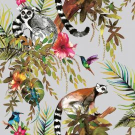A silver background with various watercolour-style exotic leaves and flowers with hummingbirds flittering throughout the roll. There are lemurs perched on the leaves too.