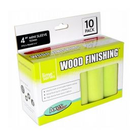 "Axus Lime Series Wood Finishing Mini Roller Sleeves 4"" 10 Pack - AXU/RL410"