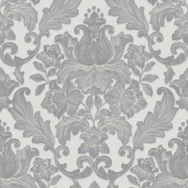Luxury Metallic Damask Wallpaper Grey.  A damask pattern wallpaper with a darker silver damask on the top of a lighter grey background.