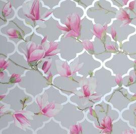 Magnolia Trellis Floral Wallpaper - Grey