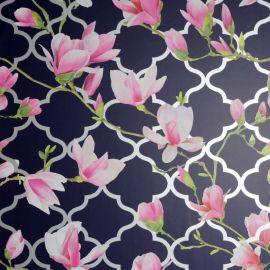 Magnolia Trellis Floral Wallpaper - Navy