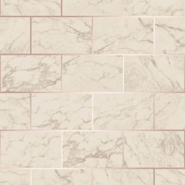 Metro Brick Marble Metallic Wallpaper Rose Gold