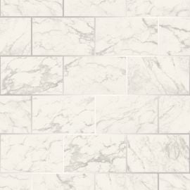 Metro Brick Marble Metallic Wallpaper Silver