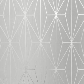 Kayla Metallic Geometric Wallpaper Dove Grey & Silver