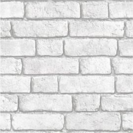 White embossed brick wallpaper with shadows between the bricks.