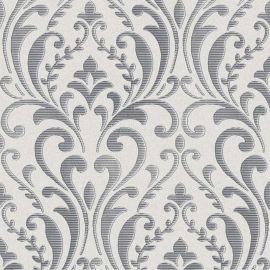 A dark grey silver damask pattern on a light grey background wallpaper sample.