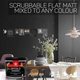 Tikkurila Optiva 3 Scrubbable Flat Matt for Walls & Ceilings - Colour Match