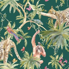Orangutan Jungle Tropica Wallpaper Green with orangutans, leopards and parrots across strings of trees, leaves and flowers with butterflies floating throughout.