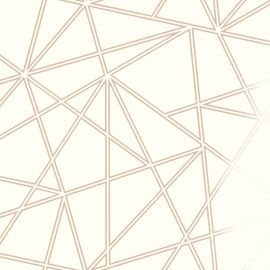 A cream background with parallel double stripes of rose gold forming a geometric design on top.