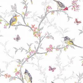 Phoebe Birds Wallpaper White