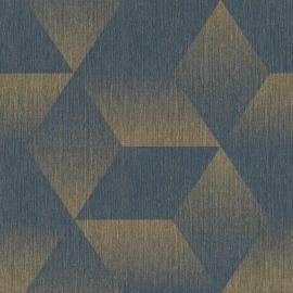 Aura 3D Effect Geometric Wallpaper Blue/Gold