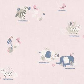 Rasch Bambino Elephant and Friends Wallpaper - Pink