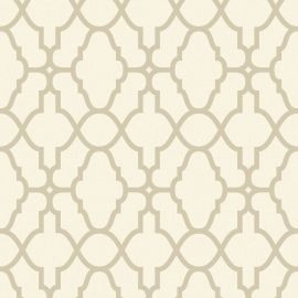 A Moroccan-style cream and gold wallpaper with a trellis-style pattern throughout.