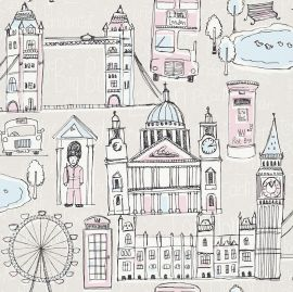 A cream background with various pastel-colored sketches of London themed objects and buildings
