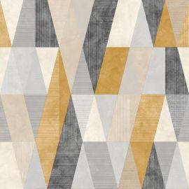 Vertex Geometric Metallic Wallpaper Yellow/Grey