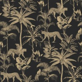 Savannah Leopard Palm Tree Wallpaper Black & Gold