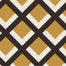 Retro Geometric Grid Wallpaper Mustard