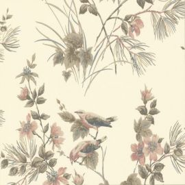 Rosemore Flower Bird Wallpaper Cream