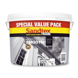 Sandtex Trade High Cover Smooth Masonry Paint Brilliant White 7.5L - Special Value Pack