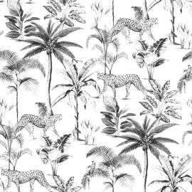Savannah Leopard Palm Tree Wallpaper Black & White