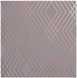 Shard Geo Trellis Wallpaper Grey & Rose Gold