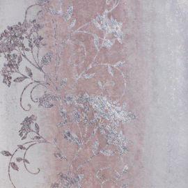 A metallic stripe wallpaper with an elegant floral metallic pattern on top.