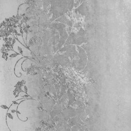 A silver industrial strip wallpaper with a curly floral design on top.