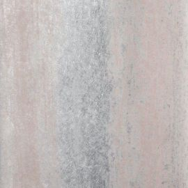 An industrial wallpaper with pink and silver distressed strips on top.