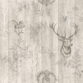 Stag Wood Panel Wallpaper