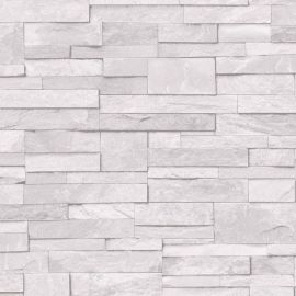 Stone Effect Wallpaper White with various sized rectangular stones all placed together.