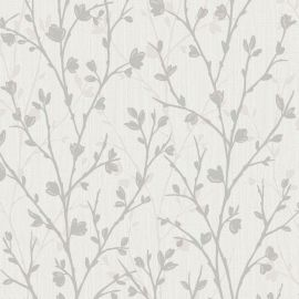 Twiggy Floral Wallpaper Grey