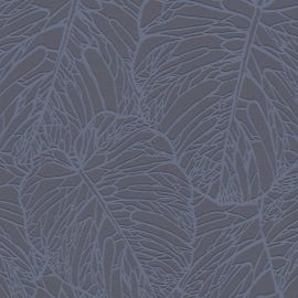 A dark navy background with a blue metallic overlapping leaf pattern all over the wallpaper sample.