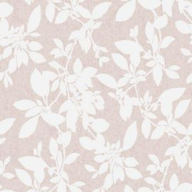 A blush pink background with a white glitter silhouette of leaves all over the surface.