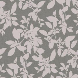 A charcoal grey background with subtle pink glitter silhouette of leaves all over the surface.