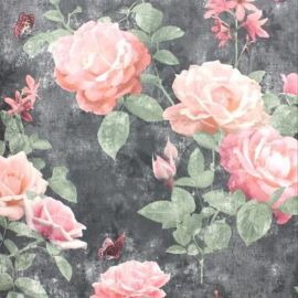 A distressed wallpaper with peach and pink roses on top with pin butterflies featured flying throughout.