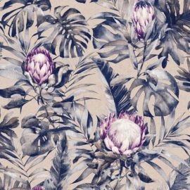 A floral wallpaper with purple protea flowers ad exotic watercolour-inspired leaves featured throughout the background.