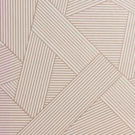 A close geometric design with glittery rose gold across the wallpaper sample.