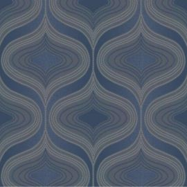 A navy blue wavy retro geometric wallpaper design, very 70's.