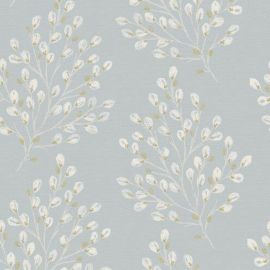 Pale blue background with a simplistic willow-like design printed in an off-white colour on the front.